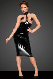 PVC DRESS WITH LONG 2-WAY ZIPPER AND ECO LEATHER CHOKER