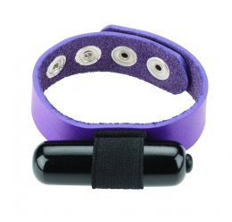 leather ring with vibrator - purple